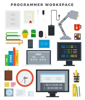 Conjunto de elementos de lugar de trabajo de programador
