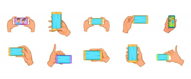 Conjunto de elementos de mano smartphone. conjunto de dibujos animados de elementos de vector de smartphone de mano