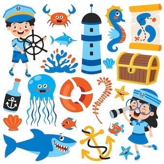 Conjunto de elementos de mar de dibujos animados