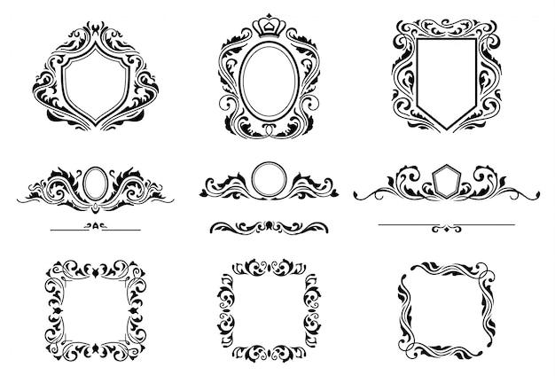 Conjunto de elementos de marco de decoraciones vintage.