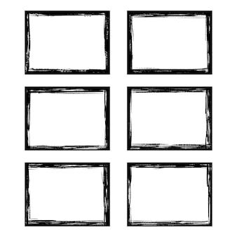 Conjunto de elementos de marco de pintura artística de borde de trazo de pincel de tinta de marcos de grunge