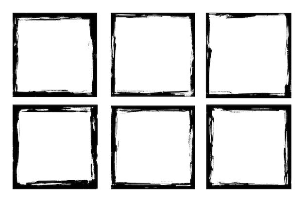 Conjunto de elementos de marco de pintura artística de borde de trazo de pincel de tinta de marcos grunge