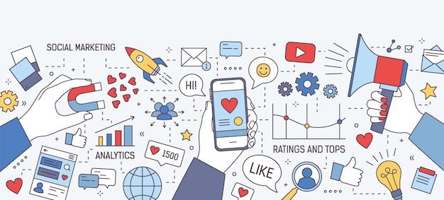 Conjunto de elementos de marketing social y de medios