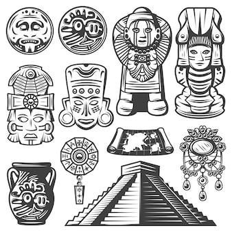 Conjunto de elementos mayas monocromáticos vintage