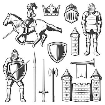Conjunto de elementos medievales vintage