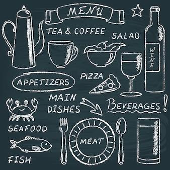 Conjunto de elementos de menú de pizarra