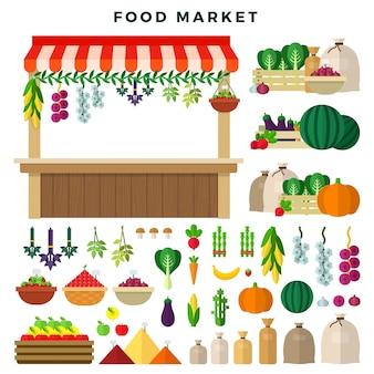 Conjunto de elementos del mercado de alimentos de granja.