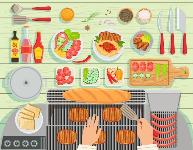 Conjunto de elementos de la mesa de cocina del restaurante grill vista desde arriba