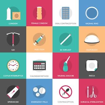 Conjunto de elementos de métodos de anticoncepción