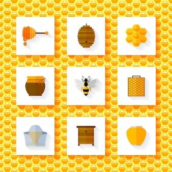 Conjunto de elementos de miel.