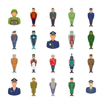 Conjunto de elementos militares. conjunto de dibujos animados de elementos vectoriales militares
