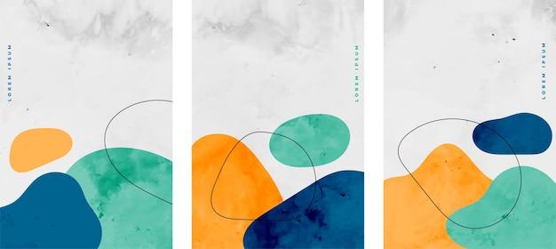 Conjunto de elementos minimalistas de manchas de acuarela.