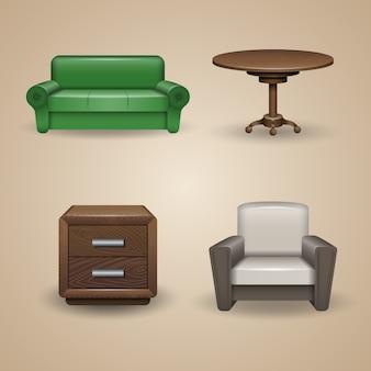 Conjunto de elementos de mobiliario diseñados, iconos