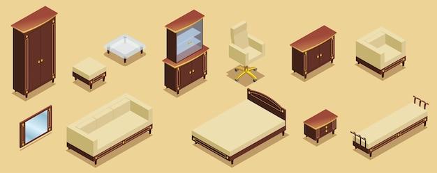 Conjunto de elementos de mobiliario de hotel isométrico