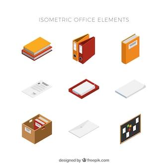Conjunto de elementos modernos con vista isométrica