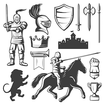 Conjunto de elementos monocromáticos de caballeros