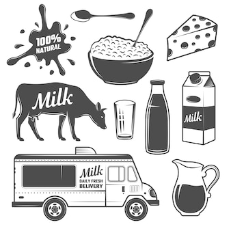 Conjunto de elementos monocromáticos de leche