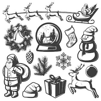 Conjunto de elementos monocromáticos de navidad