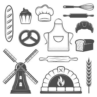 Conjunto de elementos monocromáticos de panadería