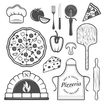 Conjunto de elementos monocromo de pizzería