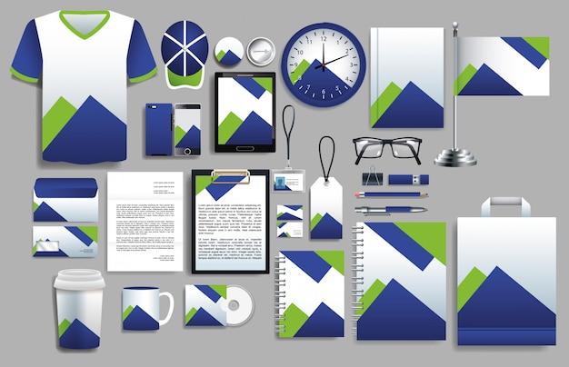 Conjunto de elementos morados y verdes con plantillas de papelería