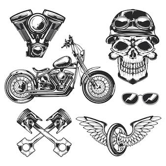Conjunto de elementos de motociclista y motocicleta.