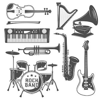 Conjunto de elementos de música monocromo
