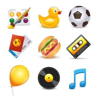 Conjunto de elementos de música, pato, bola, globo, pintura, hamburguesa, casete, vinilo de música.