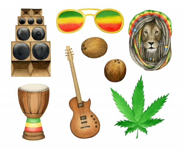 Conjunto de elementos de música reggae