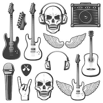 Conjunto de elementos de música rock vintage