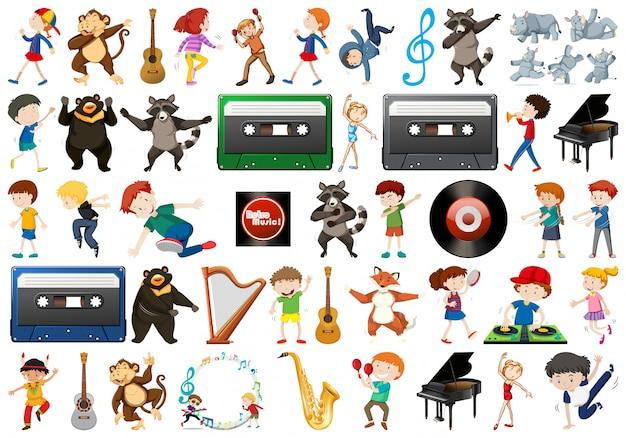 Conjunto de elementos musicales.