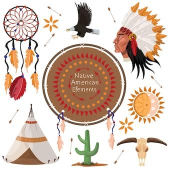 Conjunto de elementos nativos americanos.