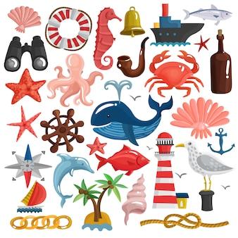 Conjunto de elementos náuticos y vida marina.