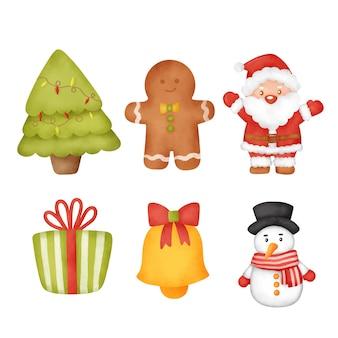 Conjunto de elementos de navidad acuarela dibujados a mano.