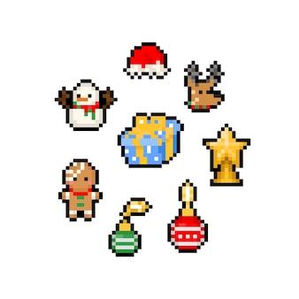 Conjunto de elementos de navidad de dibujos animados de pixel art.