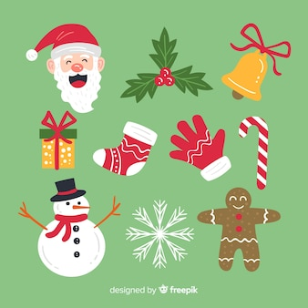 Conjunto de elementos de navidad en diseño plano
