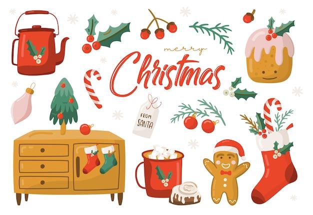 Conjunto de elementos de navidad