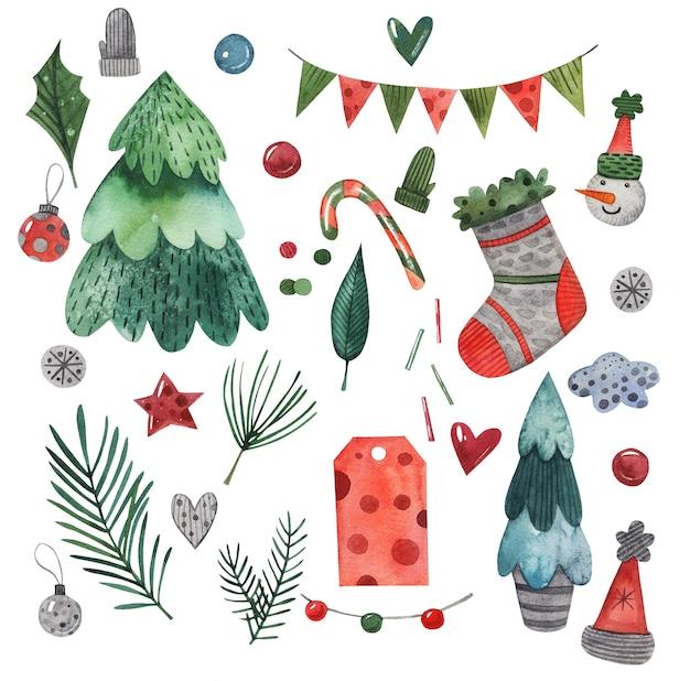 Conjunto de elementos navideños de acuarela