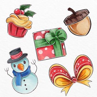 Conjunto de elementos navideños en acuarela
