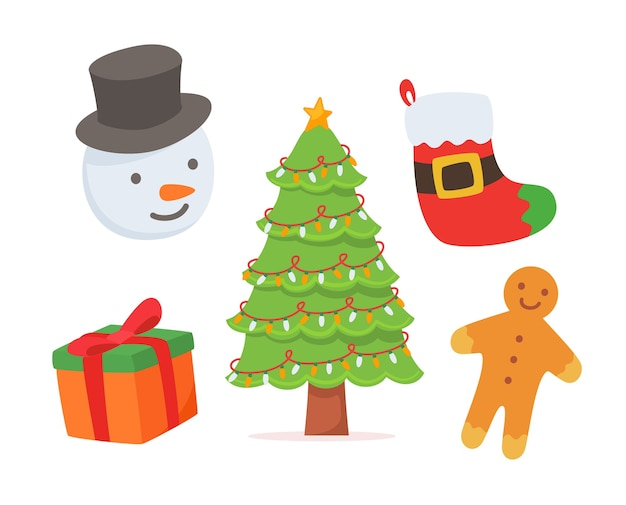 Conjunto de elementos navideños aislado en blanco