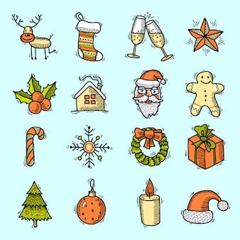 Conjunto de elementos navideños de color.