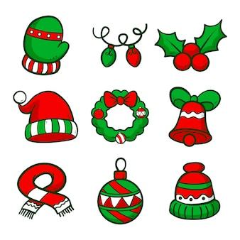 Conjunto de elementos navideños dibujados a mano