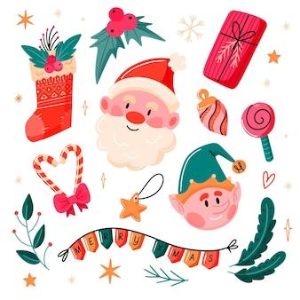 Conjunto de elementos navideños dibujados