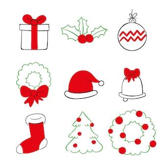 Conjunto de elementos navideños de diseño dibujado a mano