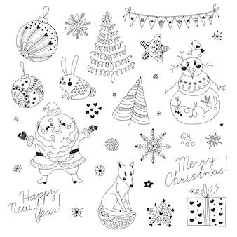 Un conjunto de elementos navideños para el diseño. papá noel, muñeco de nieve, árbol de navidad, liebre, zorro, copos de nieve y estrellas