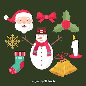 Conjunto de elementos navideños en diseño plano