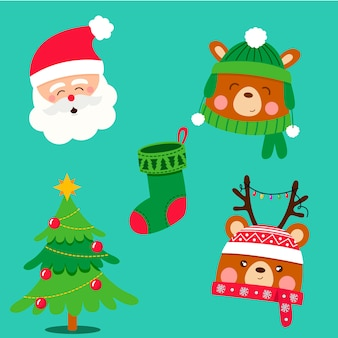 Conjunto de elementos navideños de diseño plano
