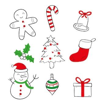 Conjunto de elementos navideños de estilo dibujado a mano