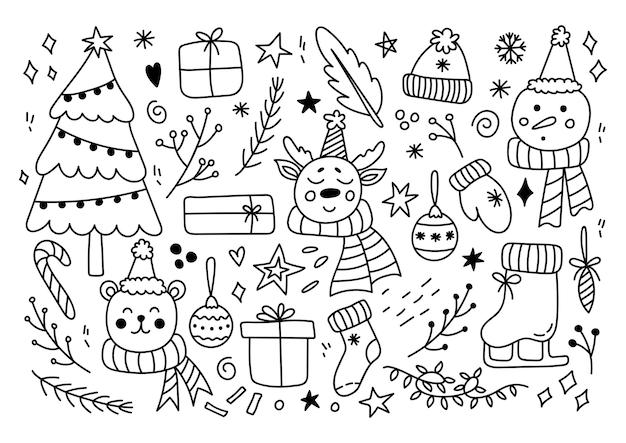 Conjunto de elementos navideños en estilo doodle