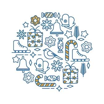 Conjunto de elementos navideños en estilo de línea sobre fondo blanco.